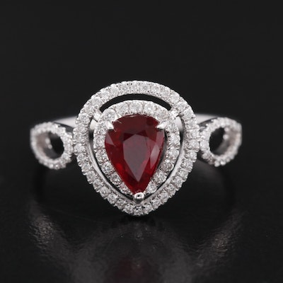 18K 1.03 CT Ruby and Diamond Double Halo Ring Ring with GIA Report