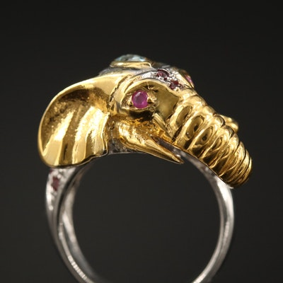Sterling Silver Elephant Motif Ring with Garnet, Aquamarine and Ruby