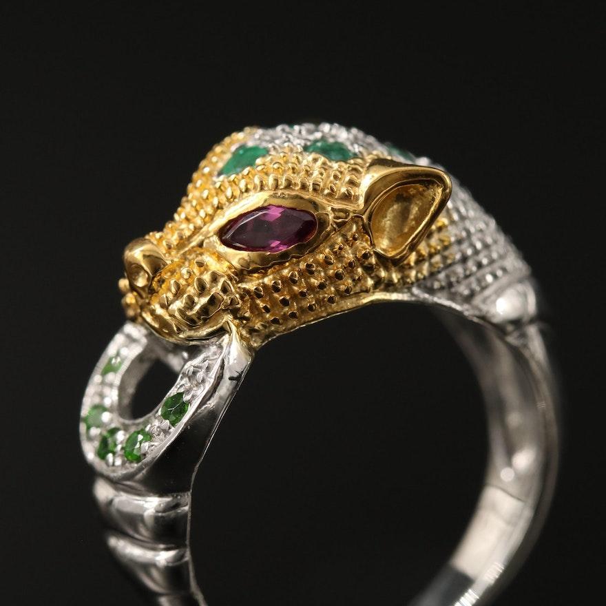 Sterling Silver Feline Door Knocker Ring with Garnet, Diopside and Emerald