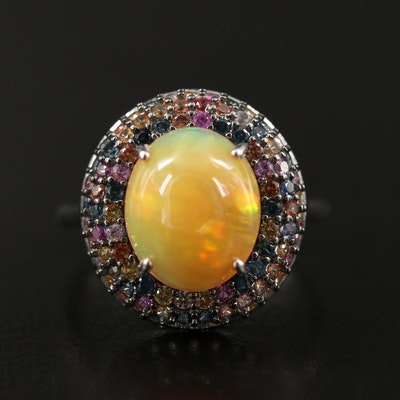 Sterling Oval Opal Cabochon and Pavé Sapphire Halo Ring