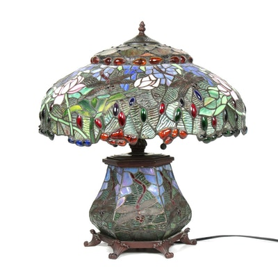 Tiffany Style Stained Glass Table Lamp with Illuminated Stained Glass Body