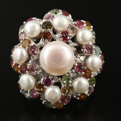 Sterling Silver Pearl and Tourmaline Pinwheel Ring