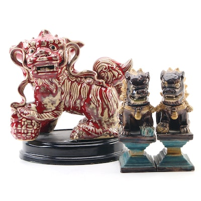 Ceramic Chinese Majolica Guardian Lion Figurines, Mid to Late 20th Century