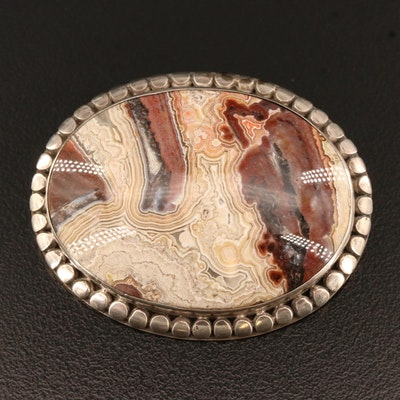 Vintage Sterling Silver Agate Brooch