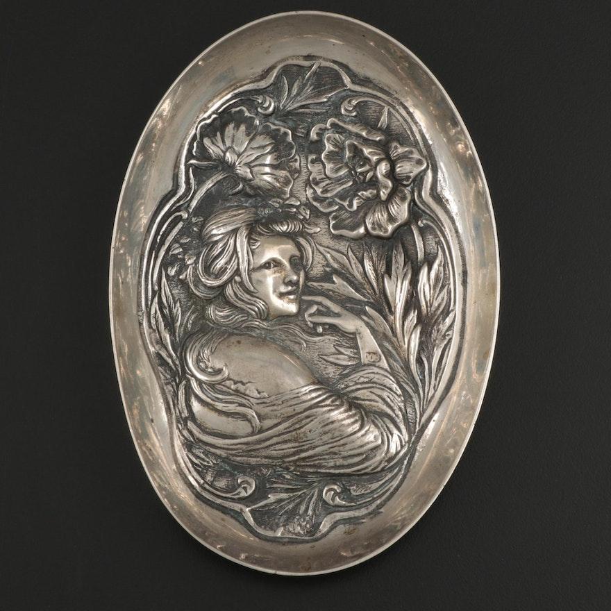 Art Nouveau 800 Silver Trinket Tray