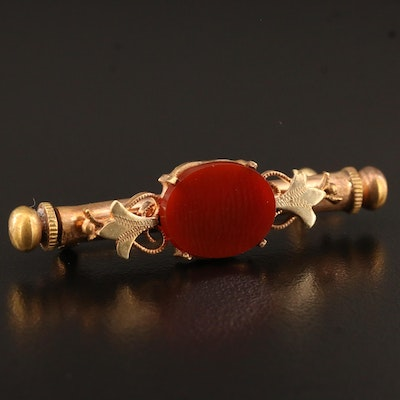 Victorian Carnelian Nanny Pin with Hidden Sewing Kit