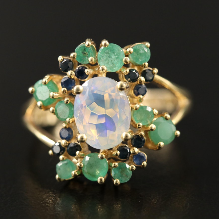 Sterling Silver Opal, Emerald and Sapphire Ring