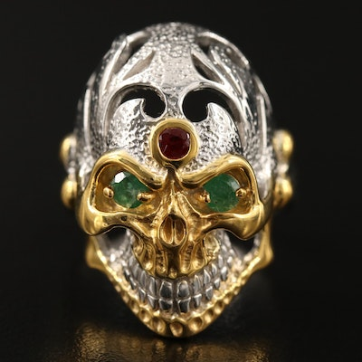Sterling Silver Ruby and Emerald Skull Ring