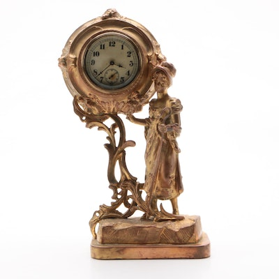 Gilt Spelter Figural Shepherdess Mantel Clock, Late 19th/Early 20th Century