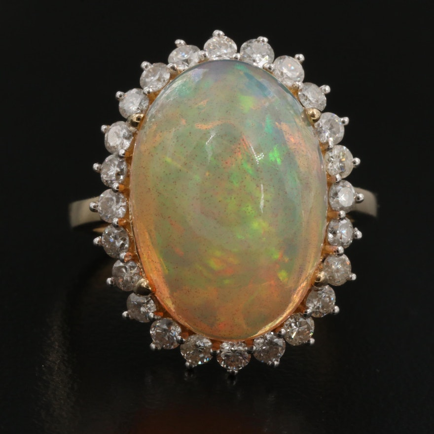 14K 9.07 CT Opal and Diamond Halo Ring