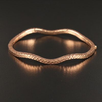 18K Rose Gold Textured Wave Hinged Bangle