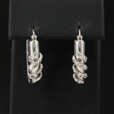 14K Oval Hoop Earrings with Diamond Cut Twist Accents