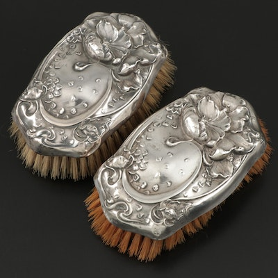 Unger Brothers Art Nouveau Sterling Silver Clothes Brushes, Early 20th Century