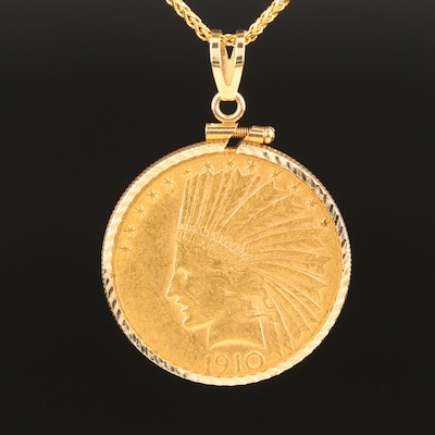 1910-S Indian Head $10 Gold Eagle Coin 14K Pendant Necklace