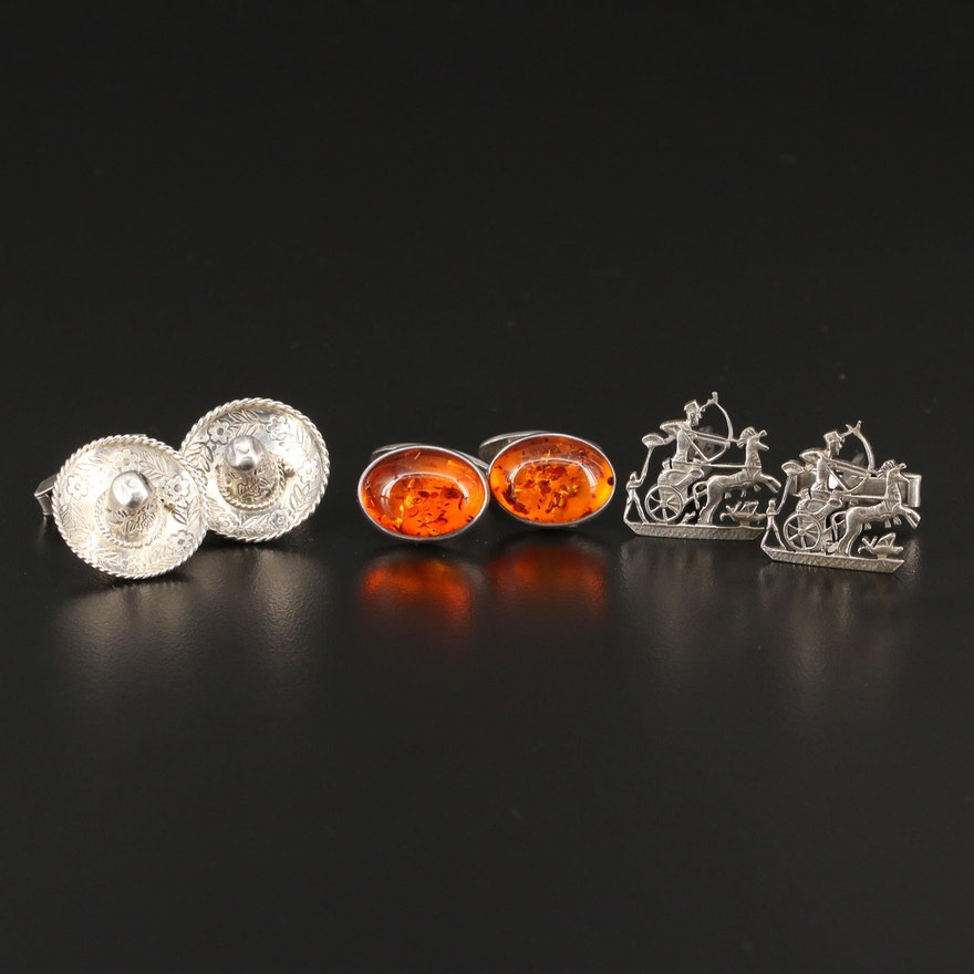 Selection of Sterling Cufflinks with 800 Silver Egyptian Chariot Cufflinks