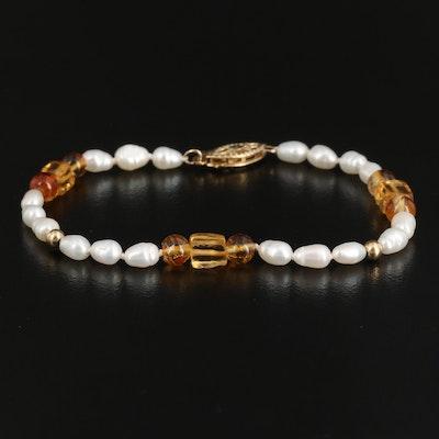 14K Citrine and Semi-Baroque Pearl Bracelet