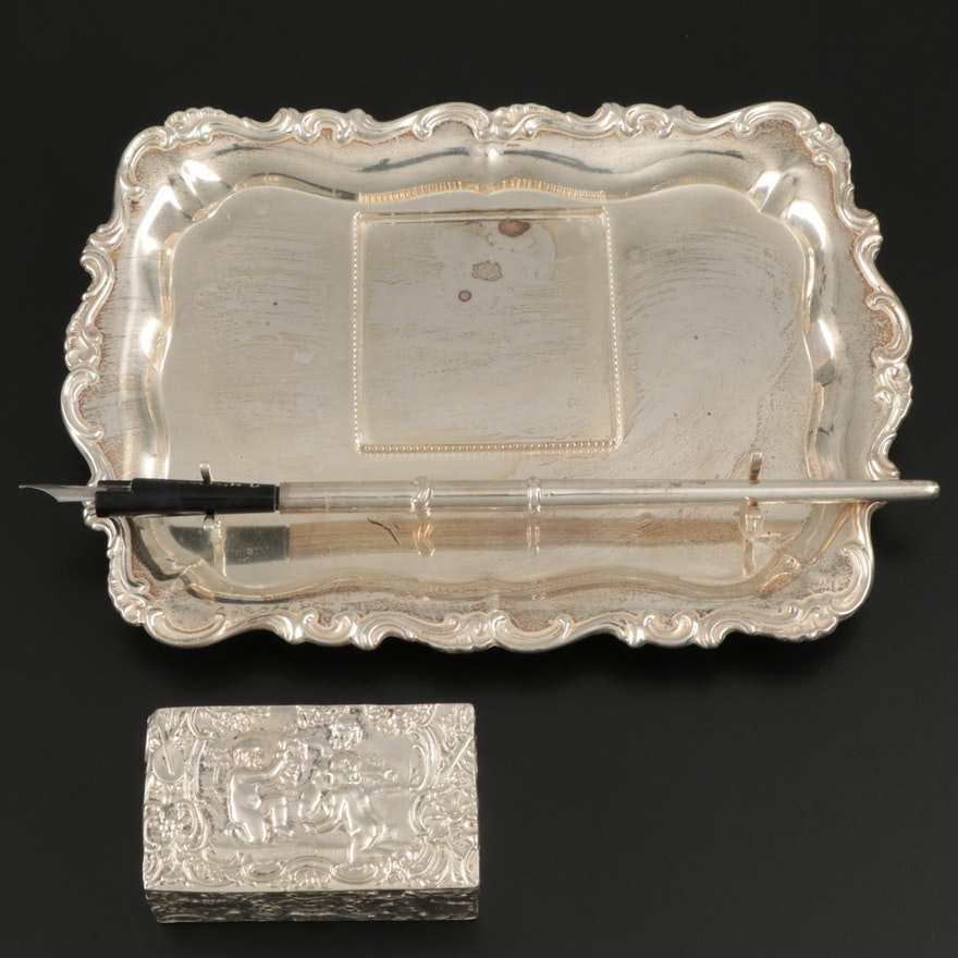 Sterling Silver Ink Stand and Pen with 800 Silver Box