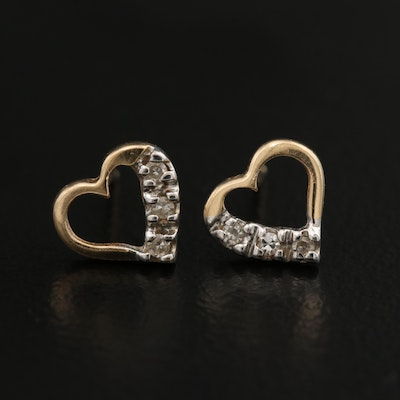 14K Diamond Heart Stud Earrings