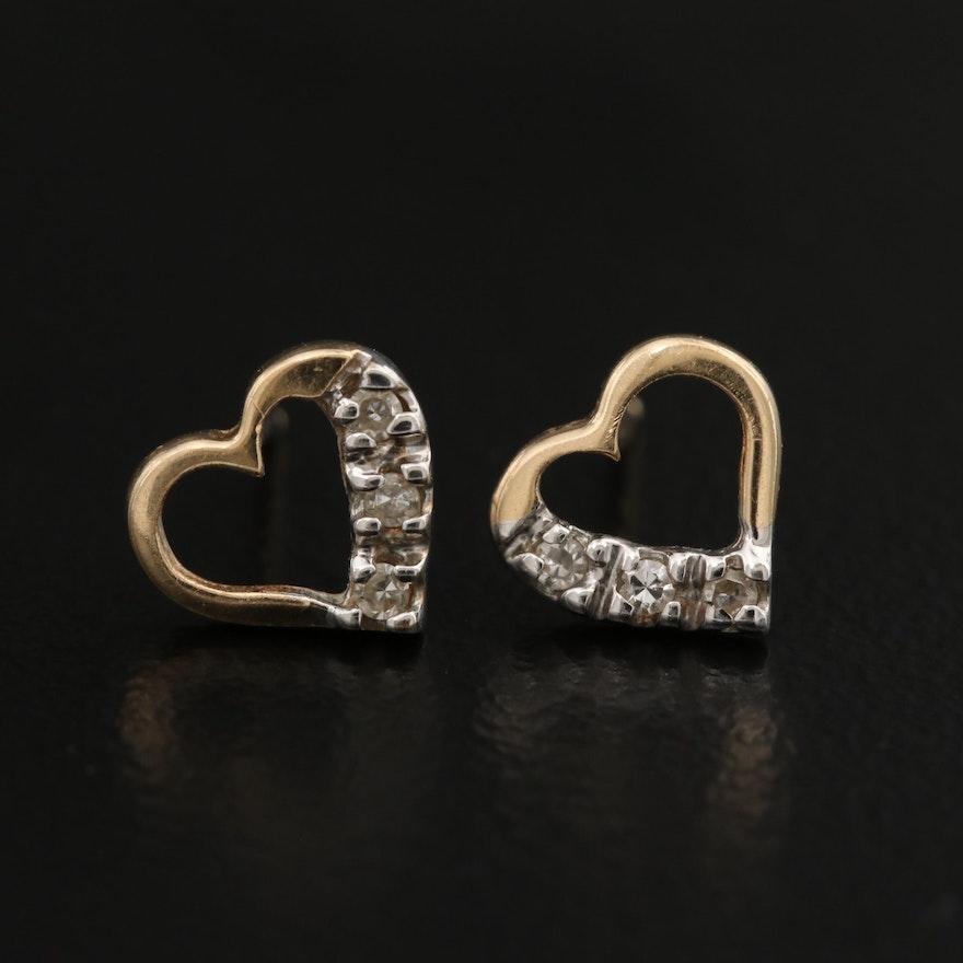 14K Diamond Heart Stud Earrings