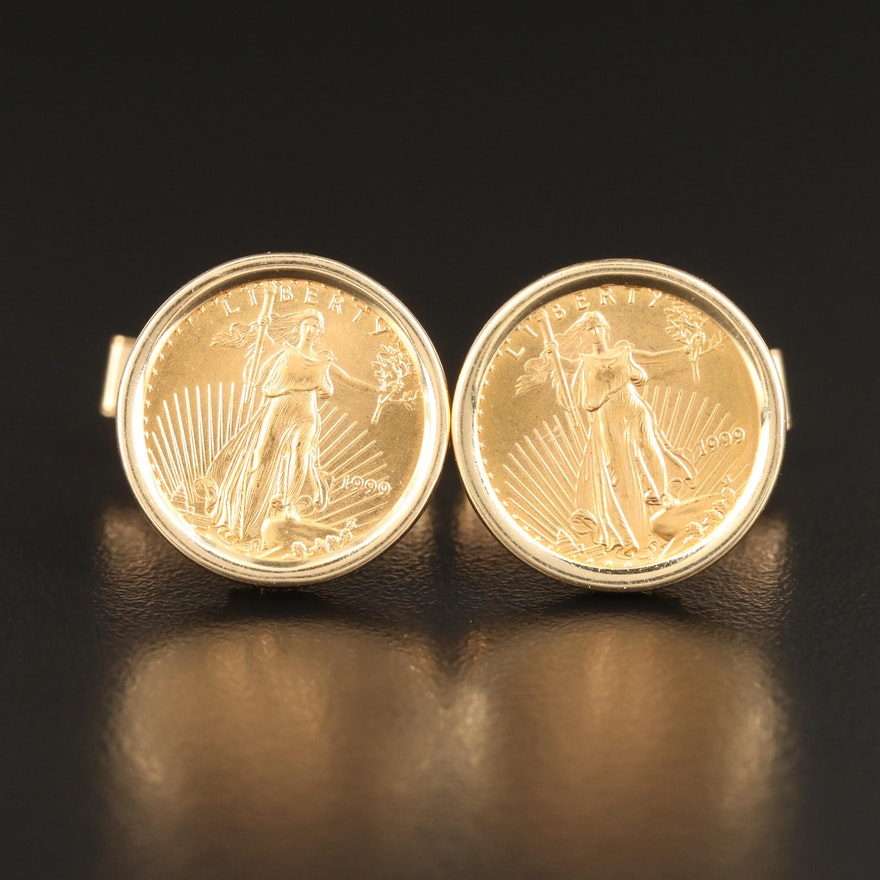 14K Cufflinks with 1999 Gold Eagle Bullion Coins