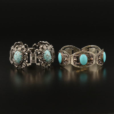 Link Bracelets with Faux Turquoise