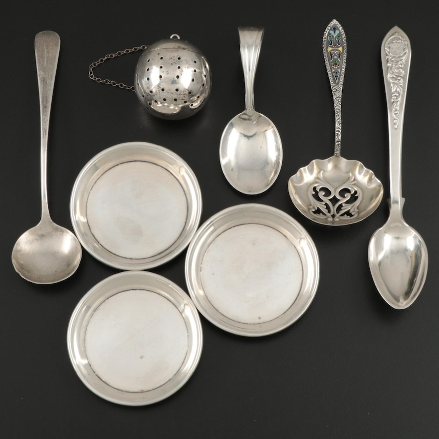 American Sterling Silver Tea Infuser, Cup Plates and Spoons