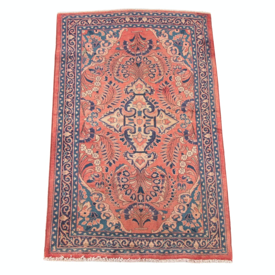3'9 x 6'7 Hand-Knotted Persian Yazd Wool Rug