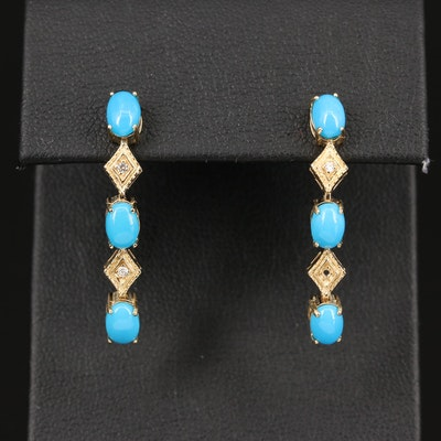 14K Turquoise ad Diamond Dangle Earrings