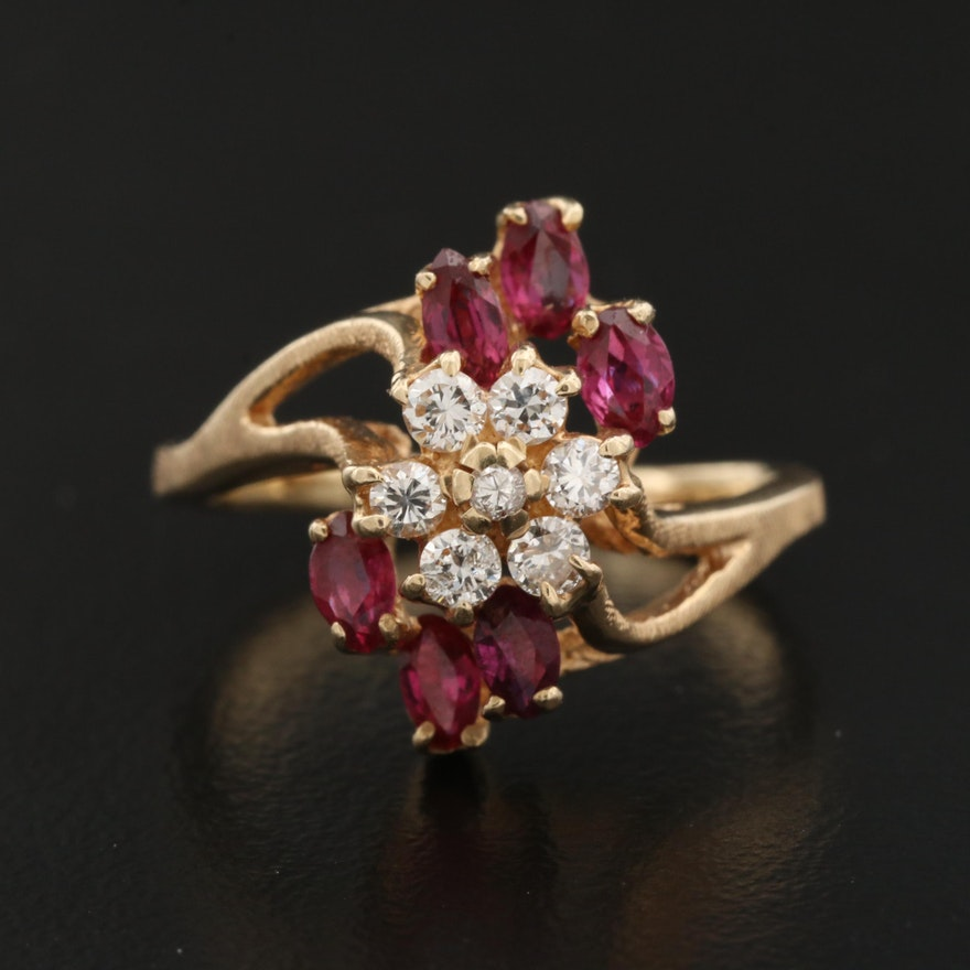 14K Diamond and Ruby Bypass Ring
