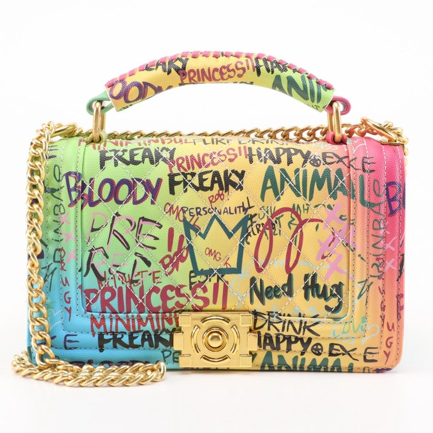 Structured Graffiti Print Flap Front Two-Way Bag