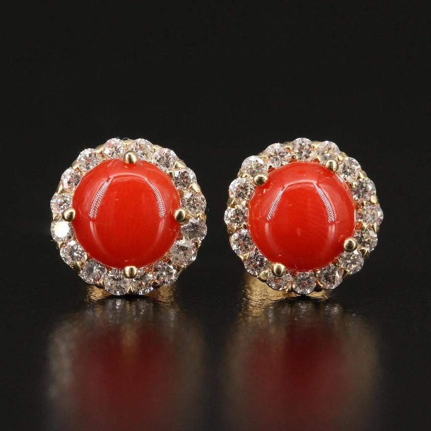 14K Coral and Diamond Halo Stud Earrings