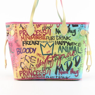 Structured Graffiti Print Faux Leather Tote Bag