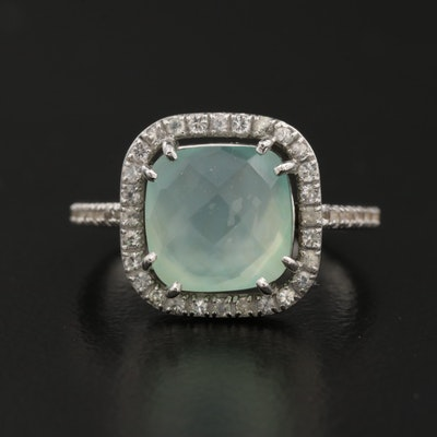 14 K Quartz-Beryl Triplet and Topaz Halo Ring