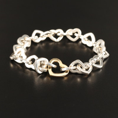 Tiffany & Co. 18K and Sterling Heart Link Bracelet