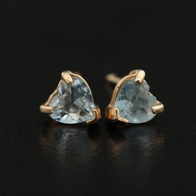 14K Aquamarine Heart Stud Earrings