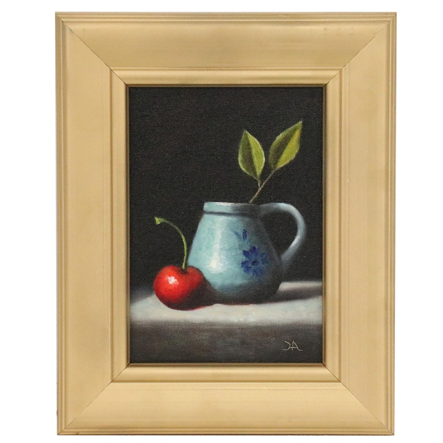 "Houra H. Alghizzi Still Life Oil Painting ""Cherry and Blue Pottery"""