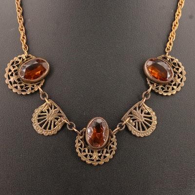 Circa 1930 Czech Glass Collar Necklace