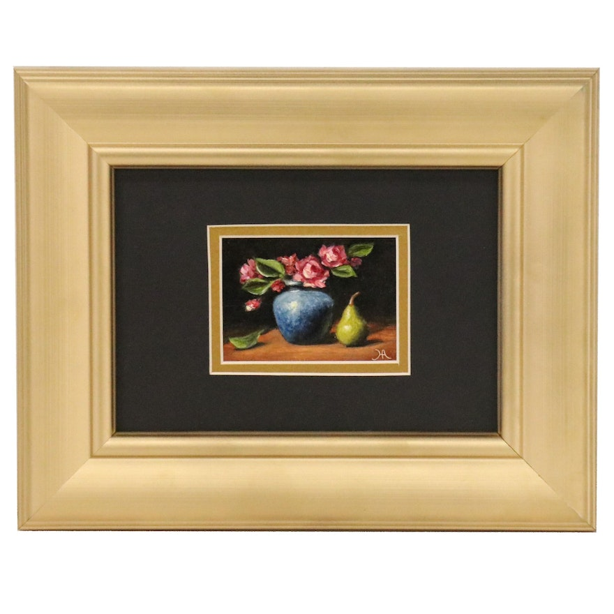 "Houra H. Alghizzi Miniature Still Life Oil Painting ""Roses and Bartlett Pear"""