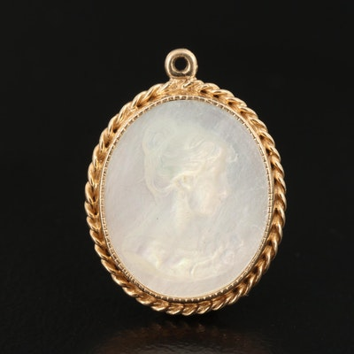 14K Mother of Pearl Cameo Pendant
