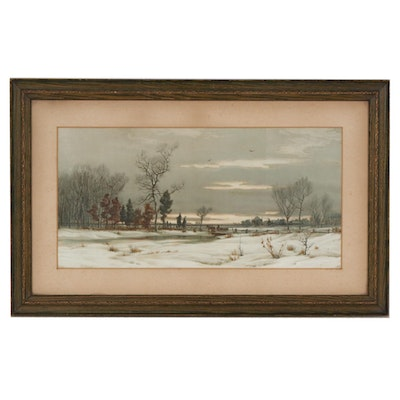 W.C. Bauer Color Lithograph of Winter Landscape