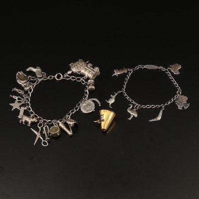 Sterling Silver Charm Bracelets with Vintage Megaphone Charm