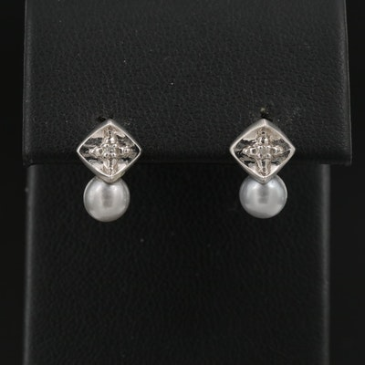 14K Silver Pearl and Diamond Stud Earrings