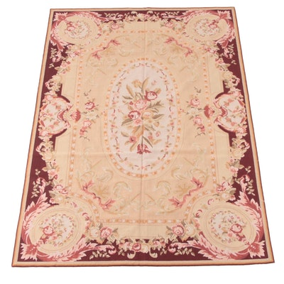 5'11 x 8'10 Handmade French Aubusson Needlepoint Wool Rug