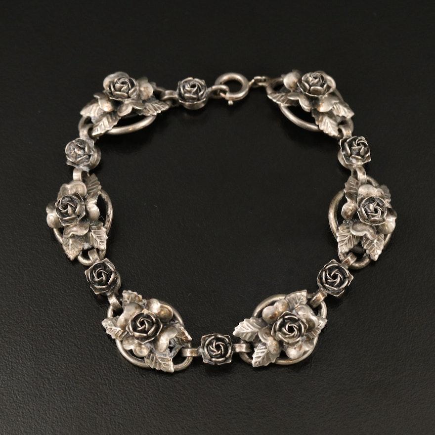 Peruzzi Sterling Silver Rose Motif Bracelet