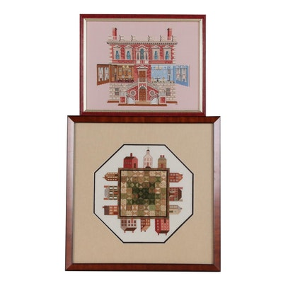 Cross-Stitch and Needlepoint of a Dollhouse and Village Square