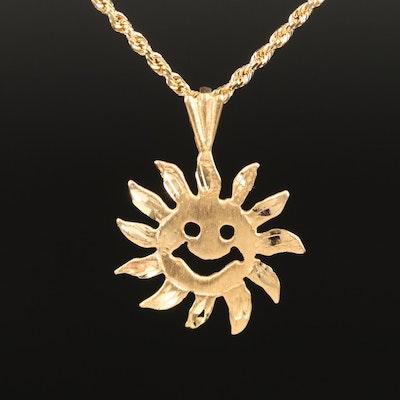 14K Diamond Cut Sunface Pendant Necklace