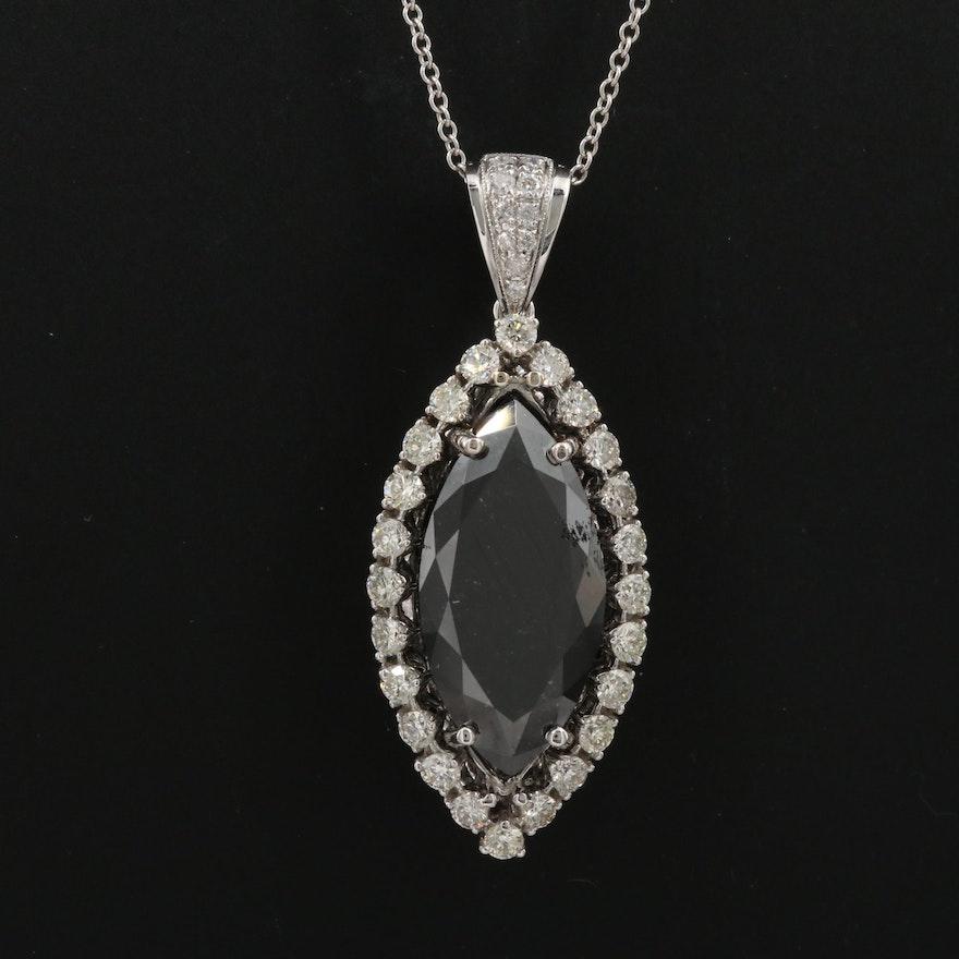 18K 6.12 CTW Diamond Halo Marquise Pendant Necklace