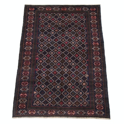 4'11 x 7'8 Hand-Knotted Afghani Baluch Wool Rug