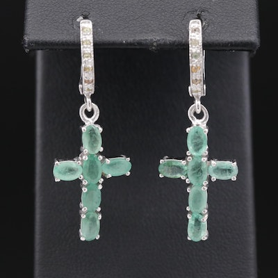 Sterling Silver Emerald and Sapphire Cross Earrings
