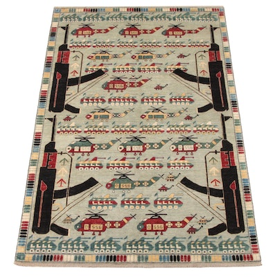 6'6 x 9'11 Hand-Knotted Afghani Wool War Rug